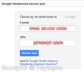 Google Chrome otorum aç senkronize et