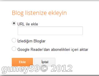 Blog listesi URL'sini ekleyin