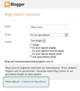 Henüz öğe yok bir blog ekleyin