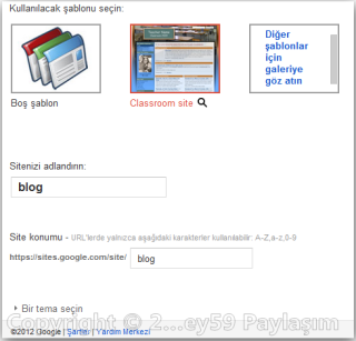 Google sites şablon seçimi