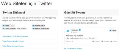 Web siteleri için twitter