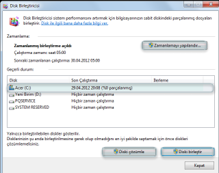 Windows7 Disk Birleştirme