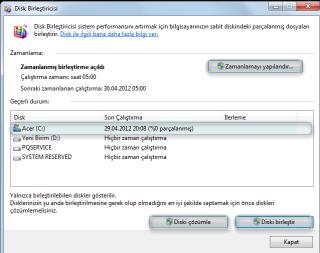 Windows7 Disk Birleştirme