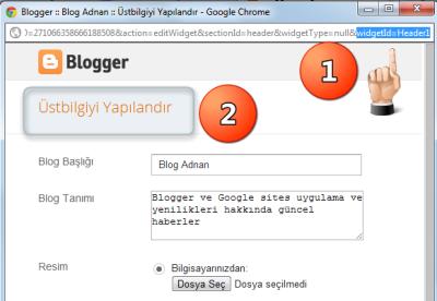 Blogger Üst bilgi widget hatası