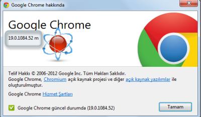 Google Chrome 19.0.1084.52 m Yeni sürüm