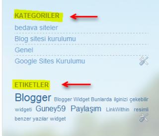 Kategori ve etiket örneği
