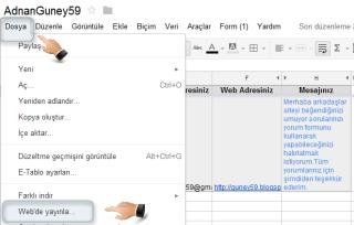 İletişim formu Dosya Web'de yayınla