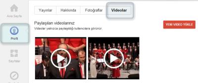 Profil sayfası Video bölümü