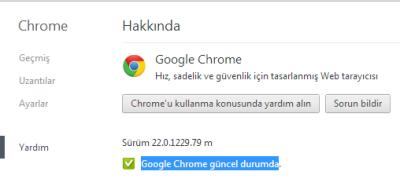 Google Chrome güncel durumda