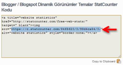 StatCounter kod içinden alacağınız kod işaretlenmiştir